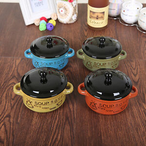 Set Of 4 Porcelain Ceramic Mini Handle Soup Bowls Noodle Cereal with Lids mixed