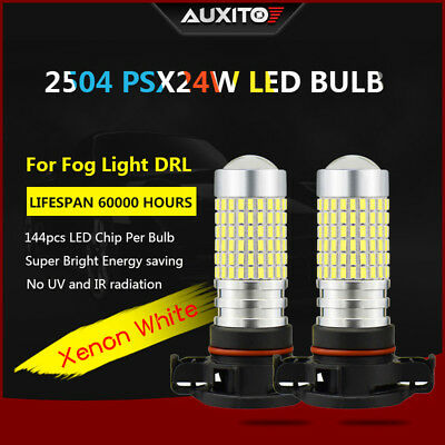 2x 2400lm Super bright PSX24W 2504 144 SMD LED Fog Light DRL white Bulb car Lamp
