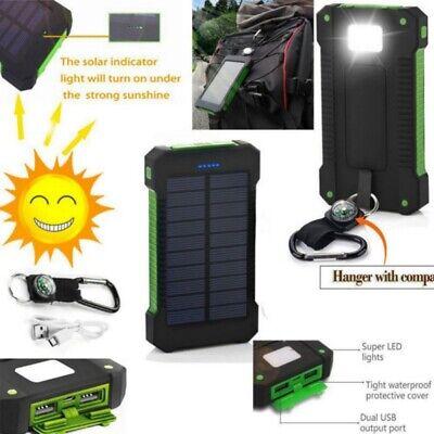 Portable 50000mAh Solar Power Bank 2 USB Outdoor Charger Wat