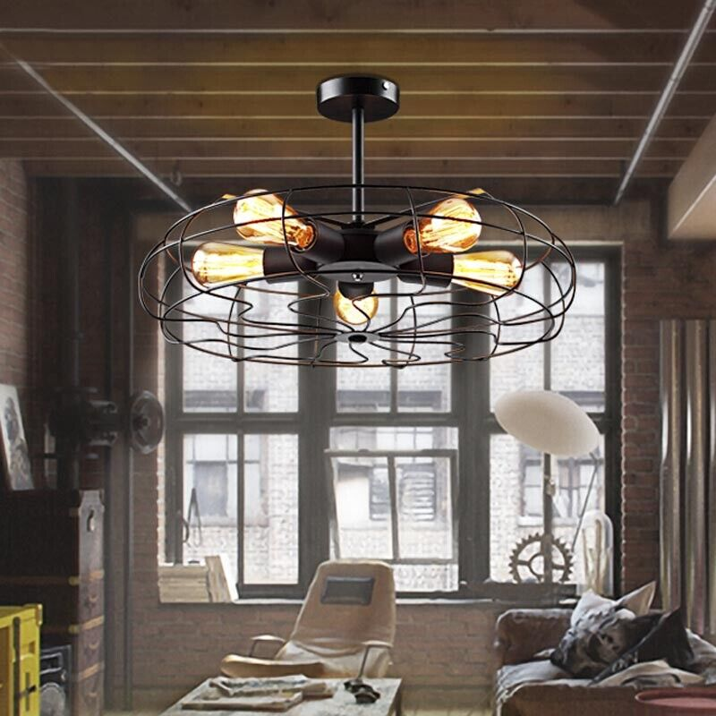 Vintage Metal Cage 5 Lights Chandelier Semi Flush Mount Ceiling Light Lighting 607841464895 Ebay