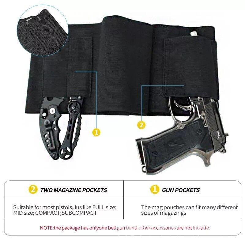 Tactical Belly Band Holster Concealed Carry Pistol Hidden Gun Belt Waist US Belts