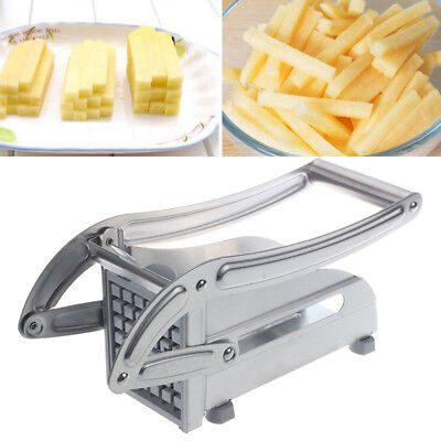 Stainless Steel French Fries Slicer Potato Chipper Chips Cutter Chopper 2 Blades