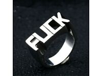 Size 7 Unisex Stainless Steel Band Cool Gothic Punk Biker Finger Ring Jewelry