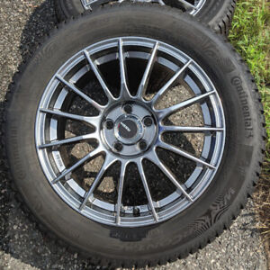 4 Pneus dhiver Continental WinterContact SI sur mags 205/55 R16