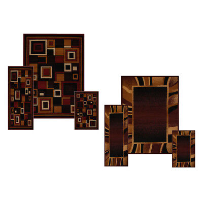 - Contemporary Geometric Bordered 3 Pieces Area Rug Modern Striped Runner Mat Set