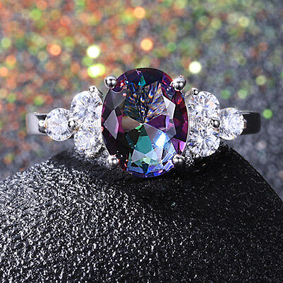 Gemstone Oval Ring - 925 Silver 8 * 10 MM Oval Mystic Topaz Gemstone Gem Birthstone Ring Wholesale