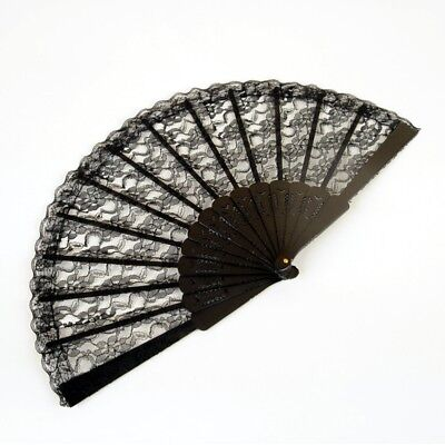 NEW Folding Black Lace Hand Fan (9 in) - Spanish - Black Lace Fans