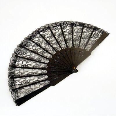 NEW Folding Black Lace Hand Fan (9 in) - Spanish - Lace Fan