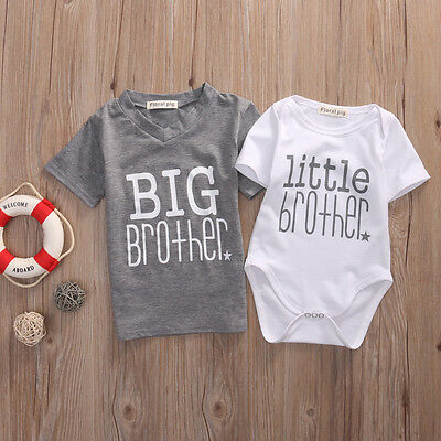 - US Stock Big Brother T-shirt Tee Little Brother Baby Boy Romper Outfit Set