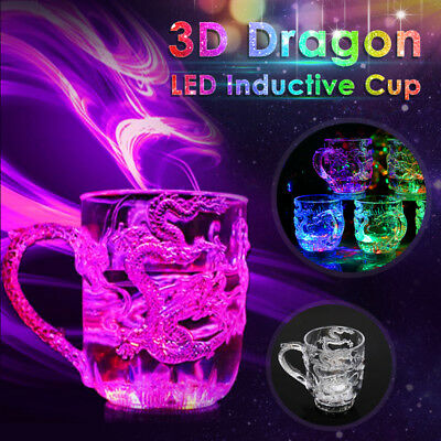 1-4x LED Automatic 8oz Flashing Cup Whisky Mug Wine Beer Glass Water Sensor GIFT - Flashing Wine Glass