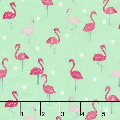 Animal Fabric - Pink Flamingo Lawn Ornament Mint Green - Dear Stella YARD