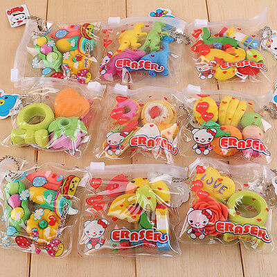 1 Pack New Cute Food Rubber Pencil Eraser Set Novelty Stationery Kids Gifts - Food Erasers