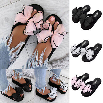 Women Bow Tie Wedges Slip On  Sliders Ladies Casual Sandals Flip Flop Shoes Size
