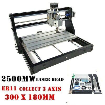 3018pro 2500mw Cnc Router Machine Laser Engraving Pcb Wood Mill Er11 Diy Kit