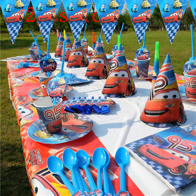 Lightning Mcqueen Cars Birthday Party Boys Tableware Decoration Cups Tablecloth - Cars Birthday Decorations