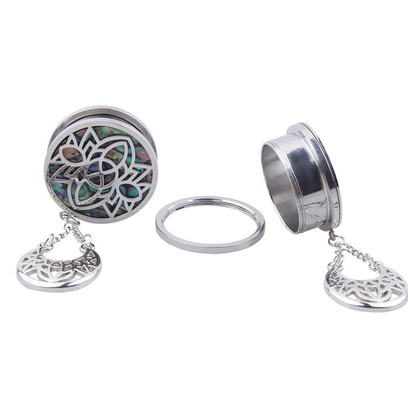 2Pcs 316L Surgical Steel Ear Plugs Gauges With a Mother of Abalone Shell Pendant