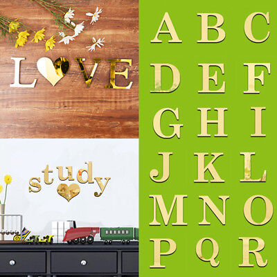 3D Mirror Wall Sticker Gold Letters DIY Art Mural Home Room Decor Acrylic Decals](Gold Room Decor)