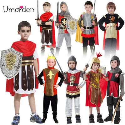 Halloween Ancient Roman Greek Warrior Soldier Gladiator Costume for Kids Boys