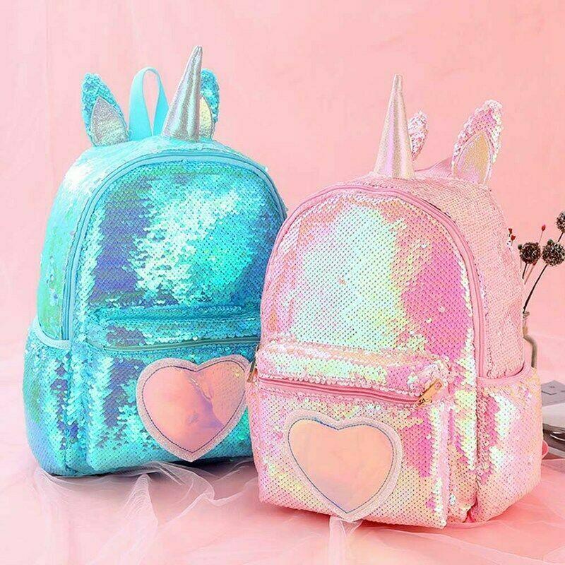 Unicorn Sequin Backpack Girls Back To School Rucksack Travel