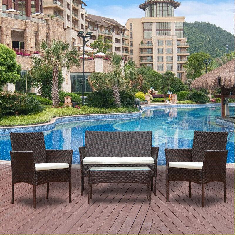 Garden Furniture - 4Pcs Rattan Garden Furniture Set Patio Outdoor Table Chairs Sofa Conservatory BN