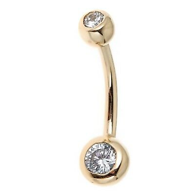 14k Real Gold Bezel CZ Belly Button Navel Ring 14 - 14k Gold Belly Button Ring