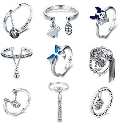 Voroco Bohemian Style 925 Sterling Silver Finger Ring Women Tassel Jewelry -