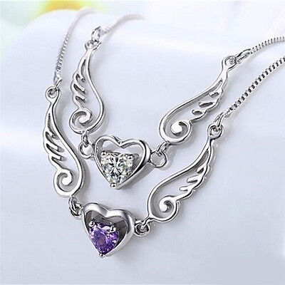 Silver Necklace Dream Angel Wings of Love Heart Necklace Female Birthday Gift TO