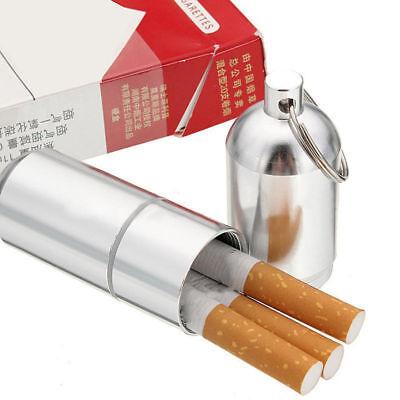 Silver Aluminum Metal Cigarette Cigar Capsule Case Waterproof Pouch Camping Gift