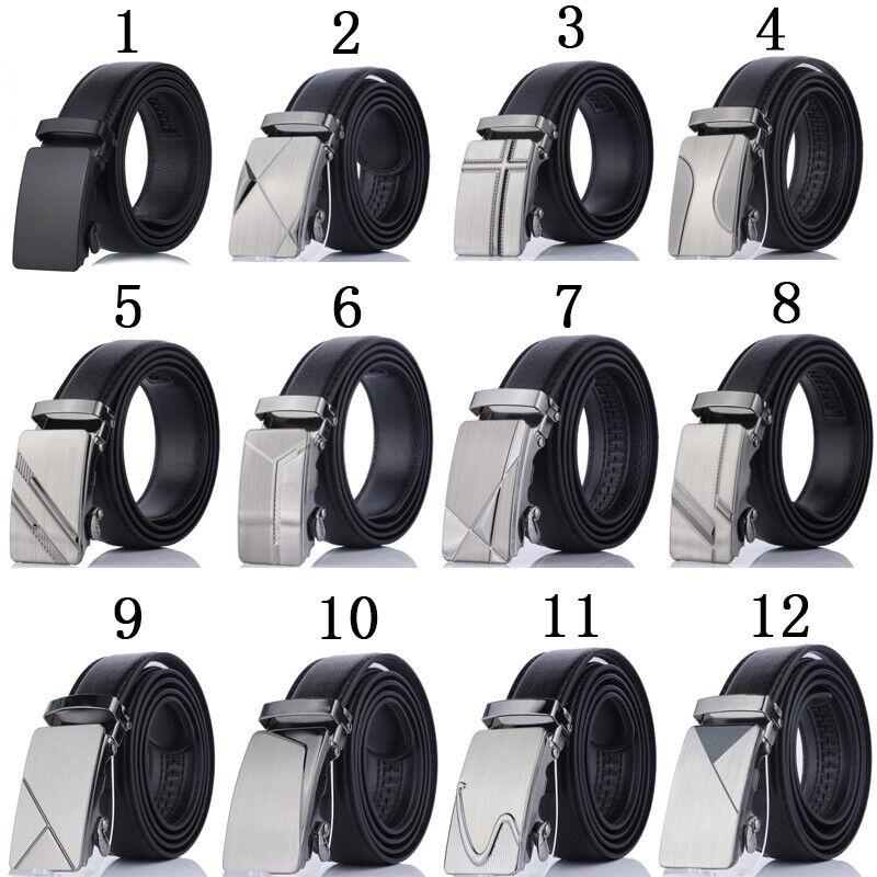 Mens Buckle Belt Pu Leather Leisure Waist Ratchet Waistband 110cm Automatic Belt