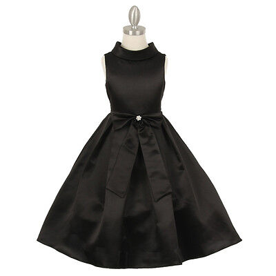 BLACK Flower Girl Dress Wedding Pageant Party Formal Recital Birthday Bridesmaid - Black Girl Dresses