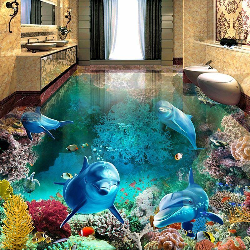 Underwater Wallpaper Floor Covering Waterproof Dolphin Paint