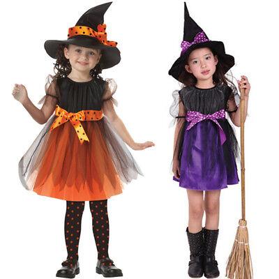 UK Halloween Kinder Baby Mädchen Festkleid + Hut Satz Party Kostüm Kleider ()