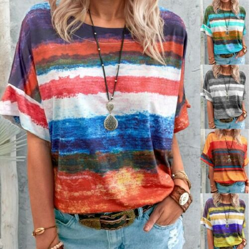 Women Summer Casual T Shirt Short Sleeve Crew Neck Top Floral Loose Blouse Tunic