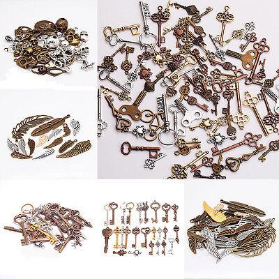 Wholesale Punk Steampunk Skull Wing Key Pendant Feather Necklace DIY Accessories - Punk Wholesale