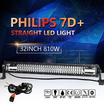 7D+ PHILIPS 810W 32INCH LED LIGHT BAR SPOT FLOOD COMBO LAMP OFFROAD ATV SUV 32