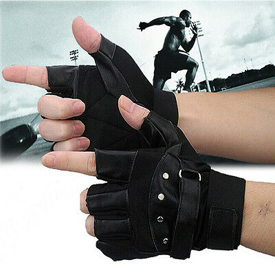 Men Soft Sheep Leather Driving Motorcycle Biker Fingerless Warm Gloves fashion