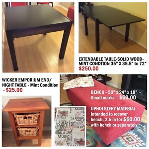 TABLE-BENCH-UPHOLSTERY MATERIAL-NIGHT TABLE-