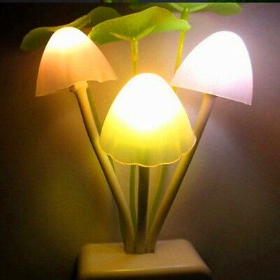 Romantic Colorful LED Mushroom Night Light Lamp Home Decoration Bed Wall Lamp AA