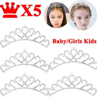5X Princess Crown Crystal Rhinestone Tiara Hair Band Jewelry Silver Girls Kids