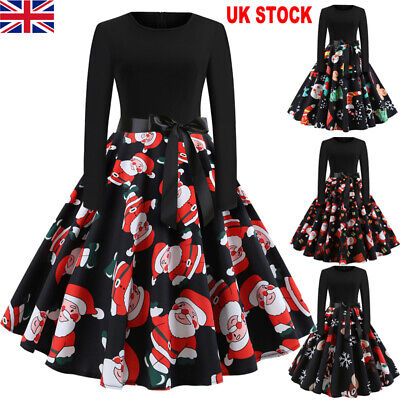 UK Vintage Womens Christmas Swing Dress Ladies Long Sleeve Party Skater Dress
