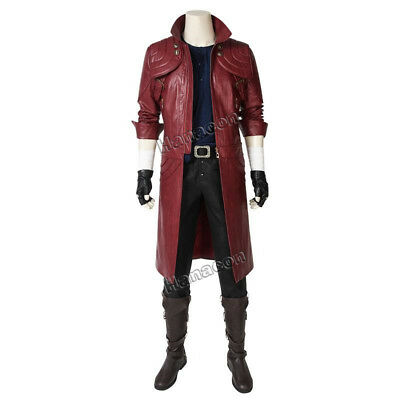 Devil May Cry5 Costume DMC5 Dante Cosplay Leather Jacket Pants Belt Outfit Props - Dmc Costumes