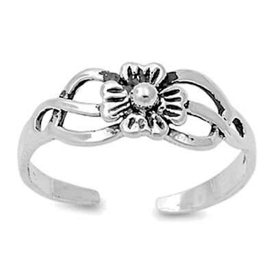 Flower Adjustable Toe Ring Sterling Silver 925 Fashion Beach Jewelry Gift