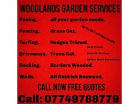 🚜 WOODLANDS GARDEN SERVICES Driveways Decking Fencing Patios Walls artificial grass gates turfing