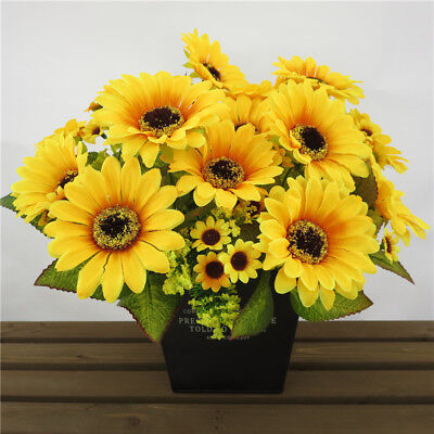 Yellow Sunflower Flowers (Yellow Sunflower Chrysanthemum Artificial Flower Bouquet Autumn Home)