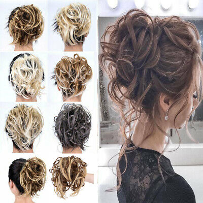 Large Tousled Messy Bun Hair Piece Scrunchie Pony Tail Hair Extensions Natural
