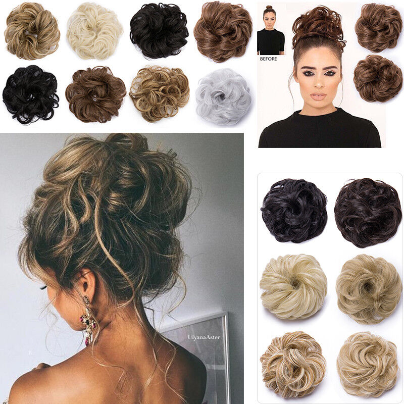 DE 100% Natürliche Haarteil Haarknoten Zopfgummi Scrunchie Dutt Extensions Blond