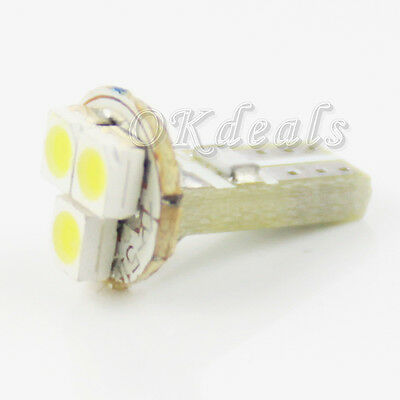 10PCS T5 12V 1W 80lm 3-1210 SMD LED  Light Car Signal Lamp Bulbs White New