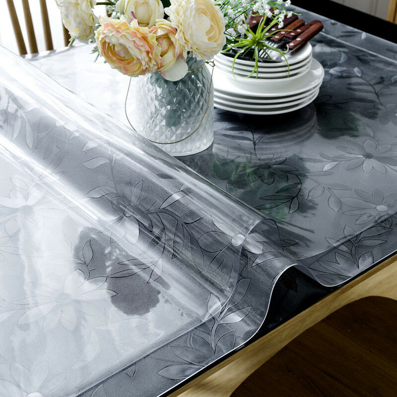 PVC Clear Soft Glass Dinning Table Cover Protector Rectangle