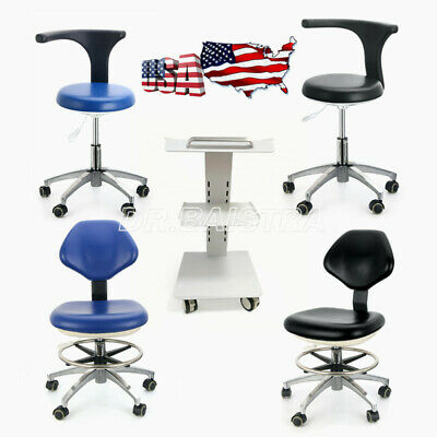 Dental Rolling Stools Adjustable Mobile Chair Dental Lab Trolley