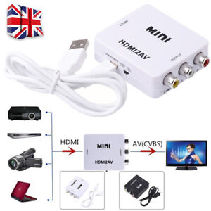 Composite AV CVBS 3RCA to HDMI Video Converter Adapter 720/1080p + HDMI Cable